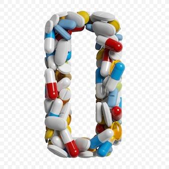 Rendu 3d de pilules et comprimés de couleur alphabet numéro 0 symbole isolé sur fond blanc