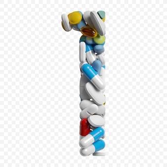 Rendu 3d de pilules et comprimés de couleur alphabet numéro 1 symbole isolé