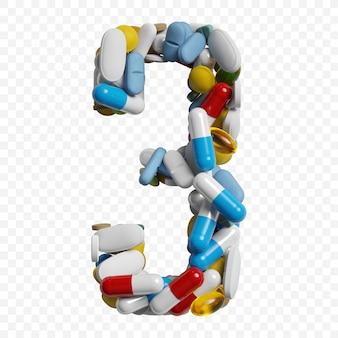 Rendu 3d de pilules et comprimés de couleur alphabet numéro 3 symbole isolé