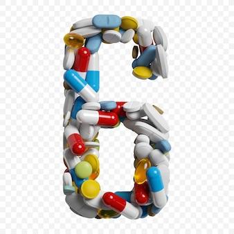 Rendu 3d de pilules et comprimés de couleur alphabet numéro 6 symbole isolé