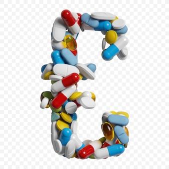 Rendu 3d de pilules et comprimés de couleur alphabet symbole euro isolé