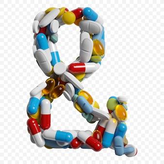 Rendu 3d de pilules et comprimés de couleur symbole esperluette alphabet isolé