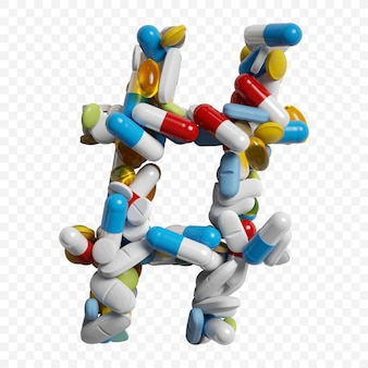 Rendu 3d de pilules et comprimés de couleur symbole hashtag alphabet isolé