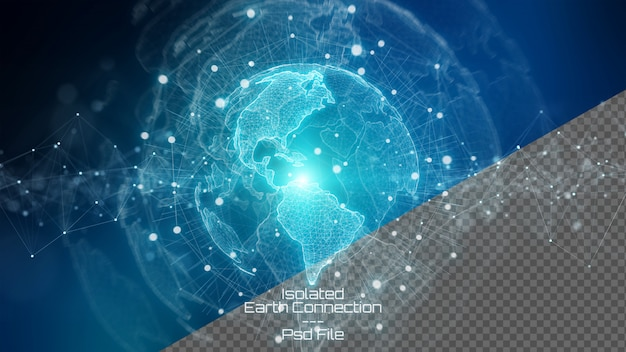 Rendu 3d de la planète terre avec des éléments isolés sur bleu