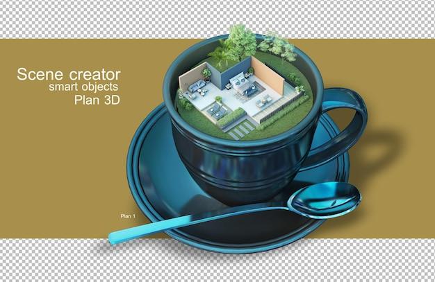 Rendu 3d de plans architecturaux dans des tasses à café