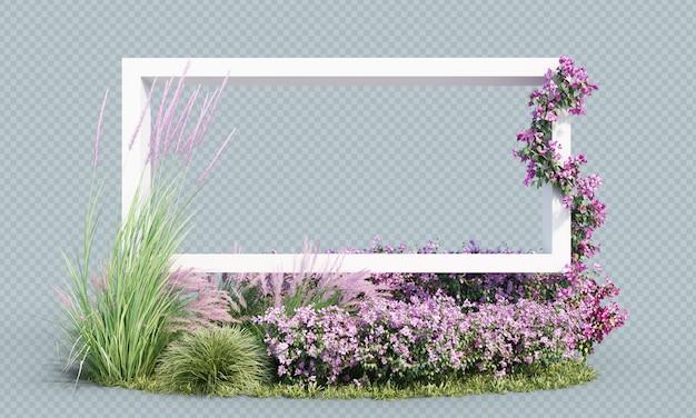 Rendu 3d de plantes à fleurs avec cadre blanc