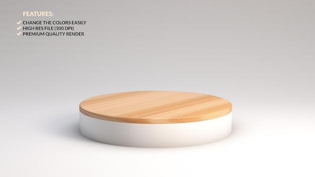 Rendu 3d d'un podium en bois minimaliste pour la présentation du produit