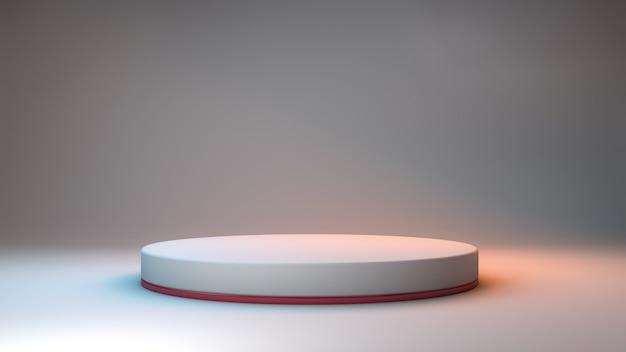 Rendu 3d d'un podium minimaliste sur une salle neutre et des lumières colorées pour la présentation du produit