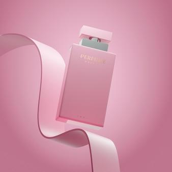 Rendu 3d de présentation de maquette de logo de parfum