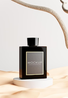Rendu 3d de produits cosmétiques avec du sable pour l'affichage de votre produit