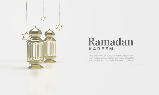 Rendu 3d de ramadan kareem avec illustration de lampe dorée