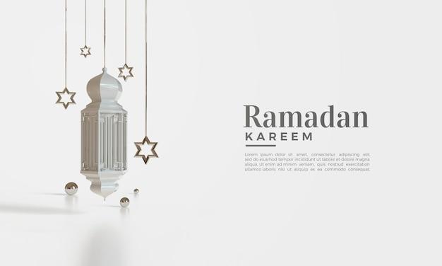 Rendu 3d de ramadan kareem avec des lumières suspendues et des étoiles