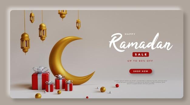 Rendu 3d ramadan kareem vente psd