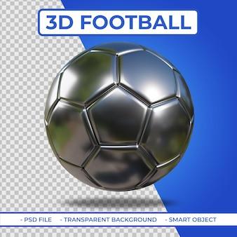 Rendu 3d réaliste de football en métal argenté 3d isolé