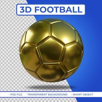 Rendu 3d réaliste de football métallique doré 3d isolé