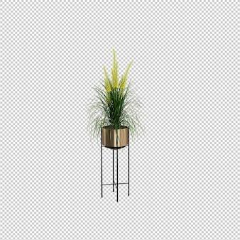 Rendu 3d réaliste de plante en pot isolée