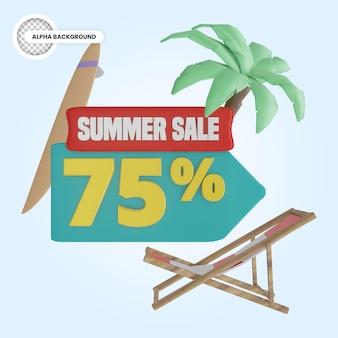 Rendu 3d de réduction de 75 pour cent d'été