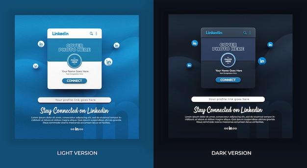 Rendu 3d restez connecté sur linkedin dans la maquette de publication de médias sociaux en version claire et sombre