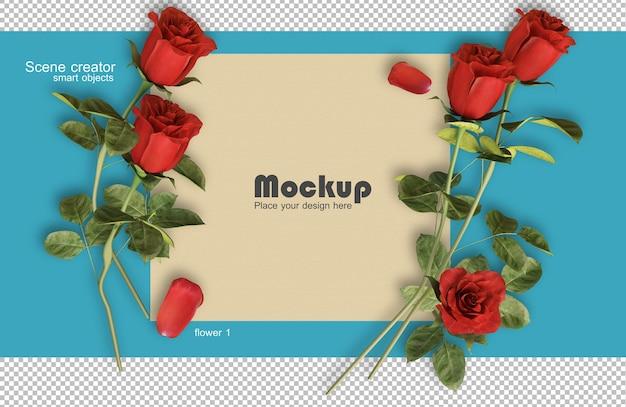 Rendu 3d de roses sur les cartes de la saint-valentin