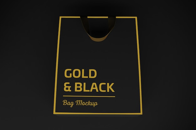 Rendu 3d sac noir et or