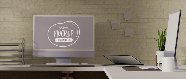 Rendu 3d de la salle de travail avec maquette d'ordinateur