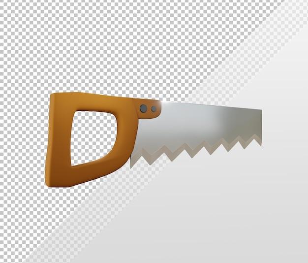 Rendu 3d simple icône de scie à main brillant angle de vue en perspective