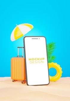 Rendu 3d de smartphone réaliste sur la plage de sable pour l'été de promotion