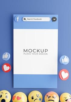 Rendu 3d de smartphones avec maquette d'icône facebook