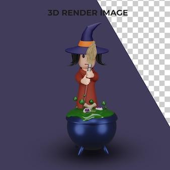 Rendu 3d de la sorcière avec le concept d'halloween