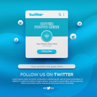 Rendu 3d suivez-nous sur la maquette de publication de médias sociaux twitter