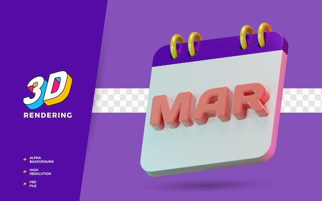 Rendu 3d symbole isolé des mois de mars du calendrier pour un rappel quotidien ou une planification