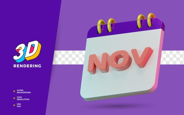 Rendu 3d symbole isolé des mois de novembre du calendrier pour un rappel quotidien ou une planification