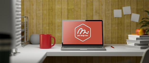 Rendu 3d, table d'étude avec pile d'ordinateur portable de livres mug papeterie et fournitures sur la table avec mur de planche