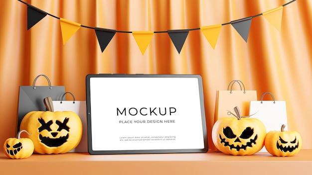 Rendu 3d de tablette avec concept de magasinage halloween pour l'affichage du produit