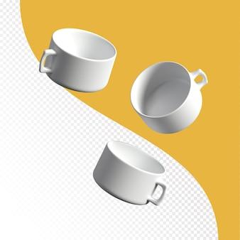 Rendu 3d de tasse blanche en céramique isolé