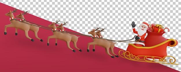 Rendu 3d transparent alpha fond santa battant renne sleight
