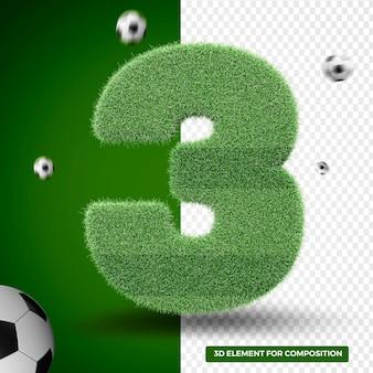 Rendu 3d trois dans l'herbe pour la composition sportive
