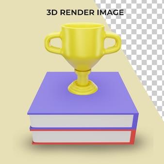Rendu 3d d'un trophée avec un concept de retour à l'école premium psd