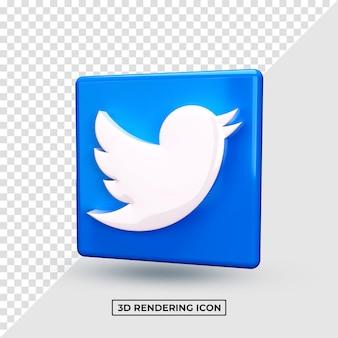 Rendu 3d twitter social network premium psd