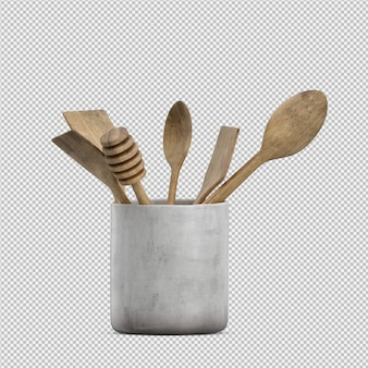 Rendu 3d d'ustensiles de cuisine isométriques