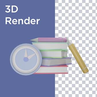 Rendu 3d De La Vue Avant De L'horloge, Du Livre Et Du Crayon PSD Premium