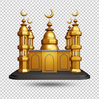 Rendu 3d de la vue de face de la mosquée