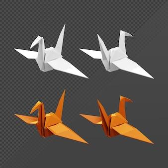Rendu 3d de la vue en perspective avant et arrière de l'oiseau en origami