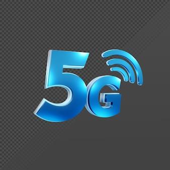 Rendu 3d de la vue en perspective de l'icône du signal internet 5g cinq vitesse de cinquième génération