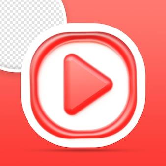 Rendu de bouton d'icône de lecteur youtube isolé