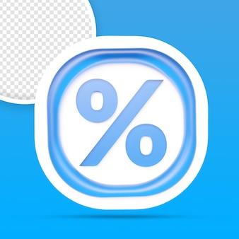 Rendu de bouton icône pourcentage isolé