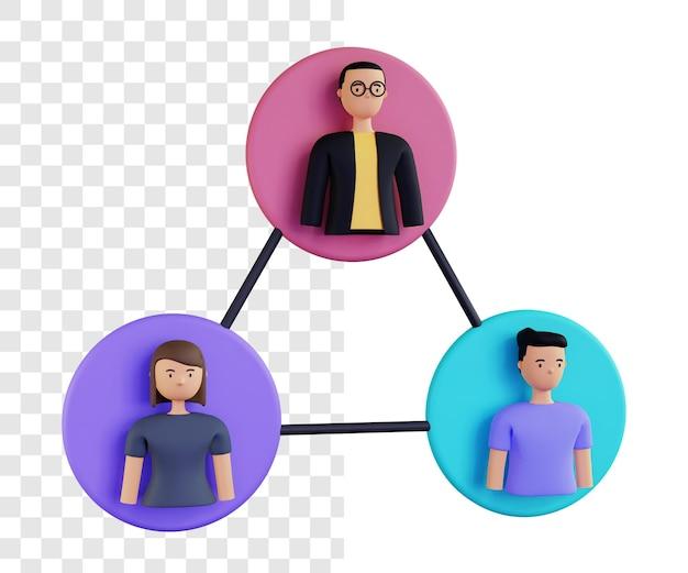 Rendu de concept d'illustration de groupe 3d isolé