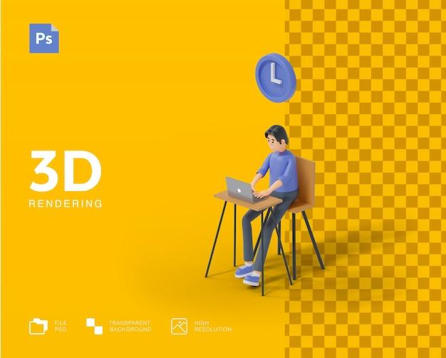 Rendu de concept de temps de travail 3d