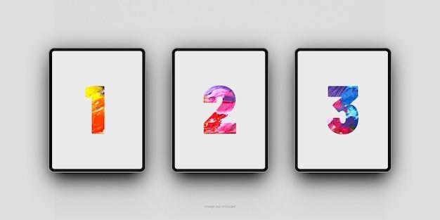 Rendu de conception de maquette d'écran de tablette minimaliste