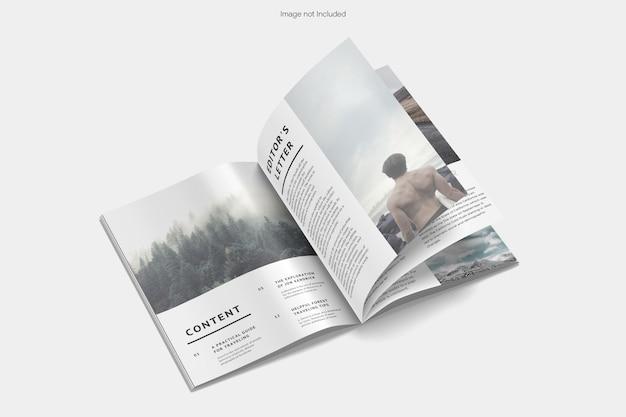 Rendu de conception de maquette de magazine ouvert isolé